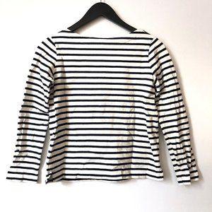 WOMEN Striped Boat Neck Long Sleeve T Shirt